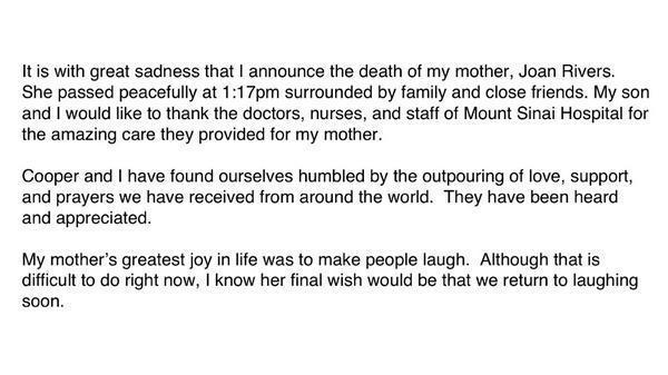 Joan Rivers death statement