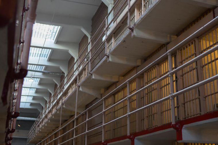 Interior of prison cell blocks on Alcatraz Island