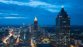 USA, Georgia, Atlanta, Cityscape with skyscrapers at dusk