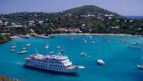 Us Virgin Island, St. Johns, Aerial View Of Cruz Bay, Cruise...