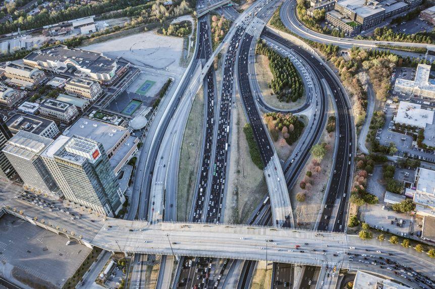 Aerial view of traffic in Atlanta at rush hour.