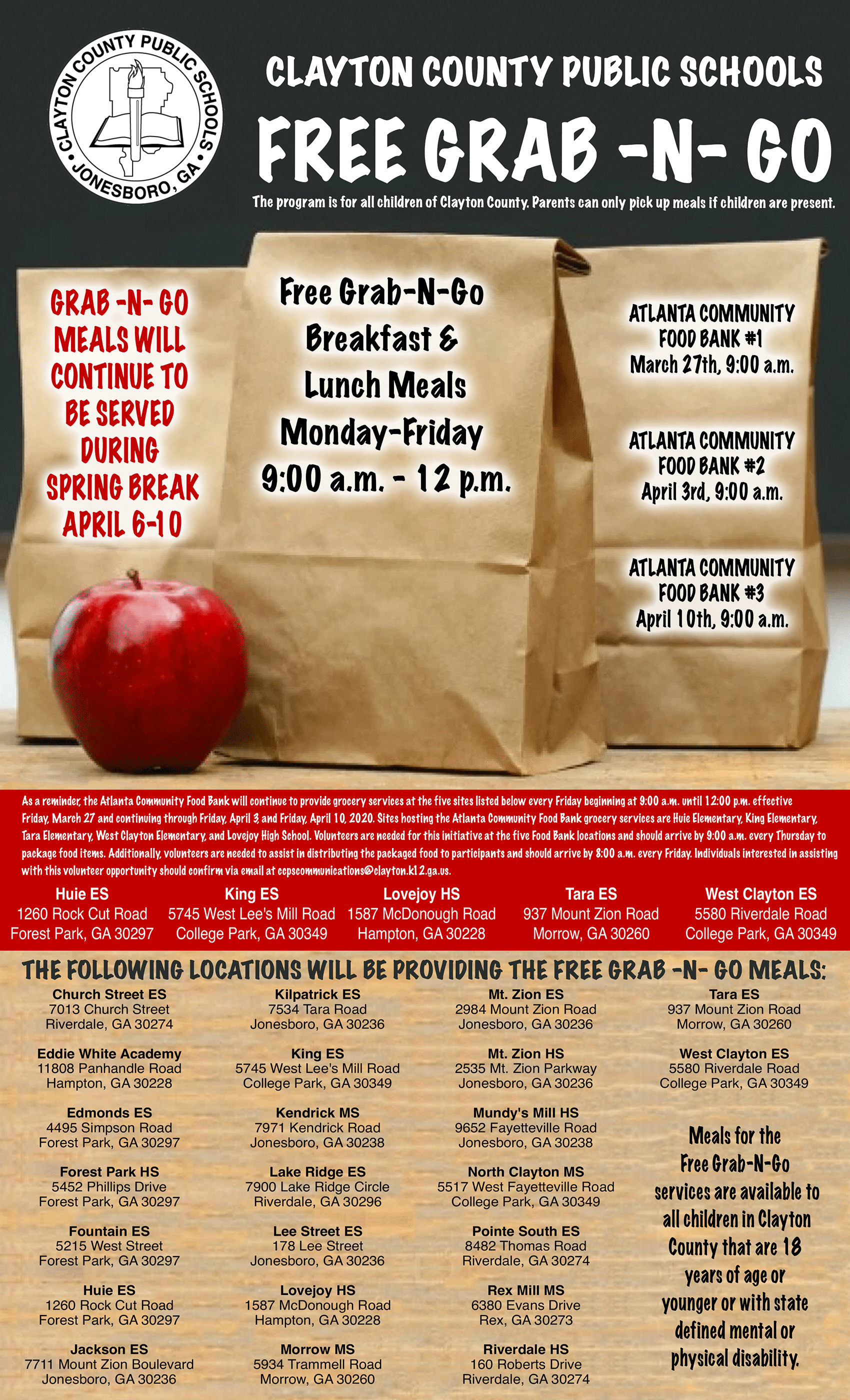 clayton county free meals