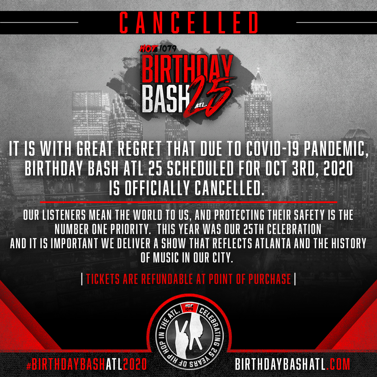 Birthday Bash ATL Cancelled