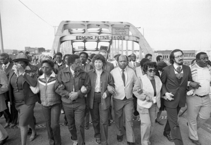 Civil Rights Marchers Cross Edmund Petus Bridge