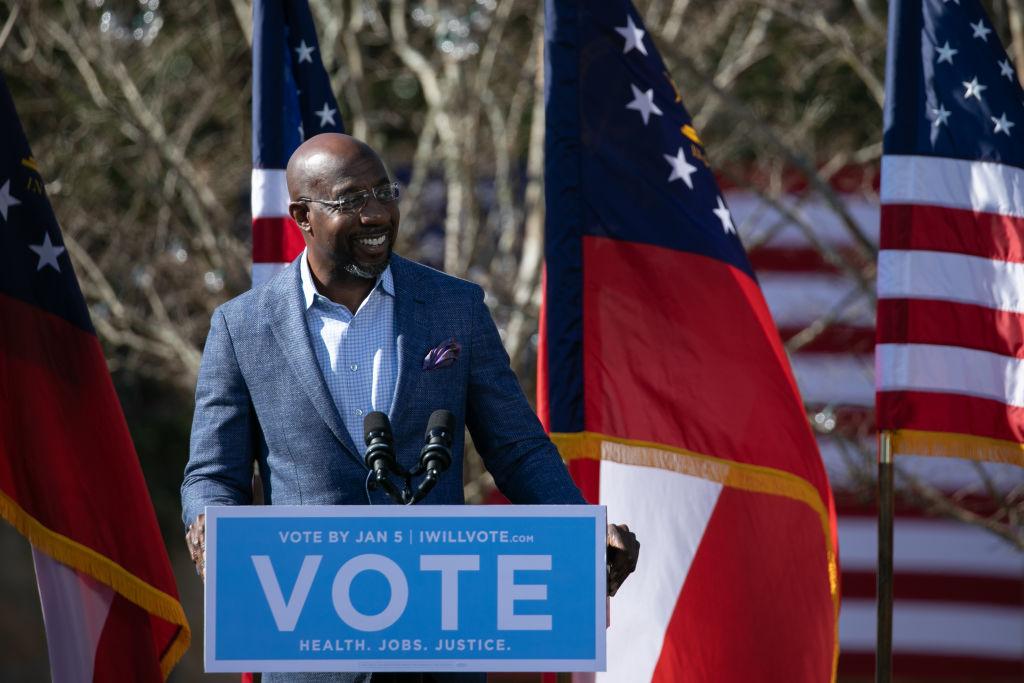 Vice President-Elect Kamala Harris Campaigns For Democratic GA Senate Candidates
