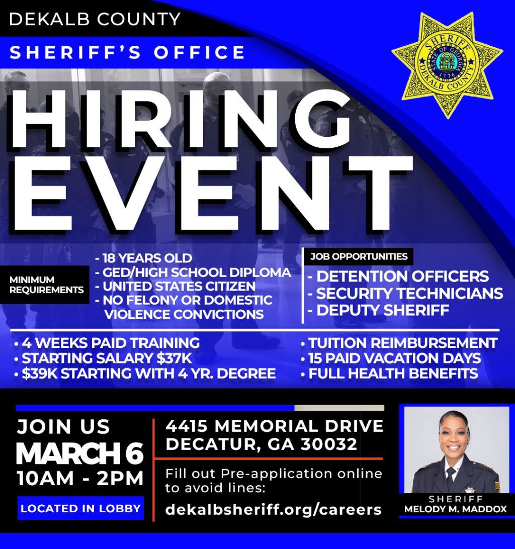 DeKalb County Sheriff's Office | NOW HIRING!